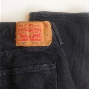 Levi's 501 Black Button Fly Straight Leg Jeans 34